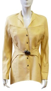 Thierry Mugler Silk Button Down Metal Plate S Trench Beige Jacket