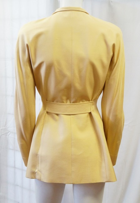 Thierry Mugler Silk Belted Button Down Metal Plate Accent S Trench Beige Jacket