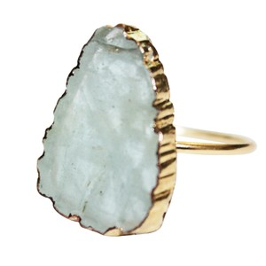 Daisy Del Sol Natural Aquamarine Stone Vermeil 925 Sterling Silver Statement Ring