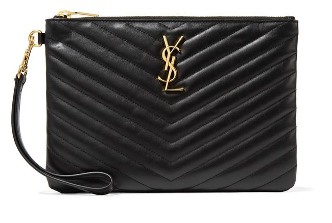 Item - Classic Clutch Monogram Quilted Wristlet Pouch Black Leather Tote