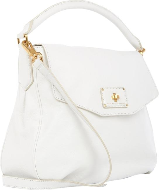 Item - Fabulous Pebbled Les Zeppelin Rolled Handle White Leather Hobo Bag