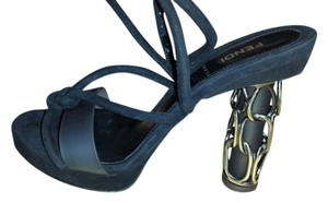 FENDI Chain Suede BLACK AND GREY Sandals