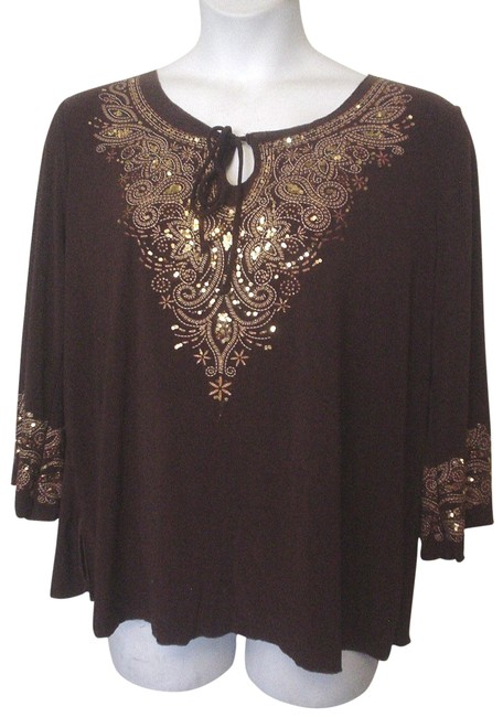 Item - Brown Copper Sequins Painted Embroidery 2x Tunic Size 22 (Plus 2x)