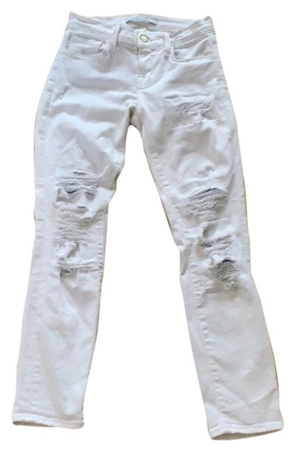 Item - White Distressed Skinny Jeans Size 6 (S, 28)