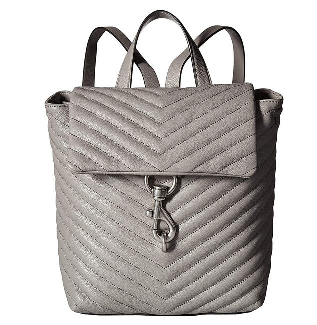 Item - Edie Flap Quilted Grey Leather Backpack