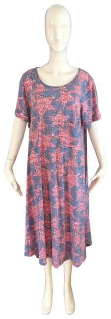 Item - Blue and Red Lula Mid-length Short Casual Dress Size 26 (Plus 3x)