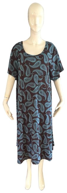 Item - Brown and Blue Lula Mid-length Short Casual Dress Size 26 (Plus 3x)