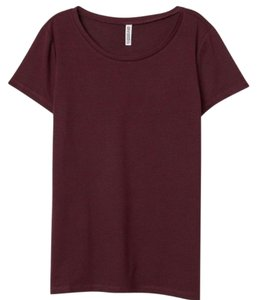 Divided by H&M Crew Neck Sleeve Stretchy T-shirt Basic T Shirt Maroon