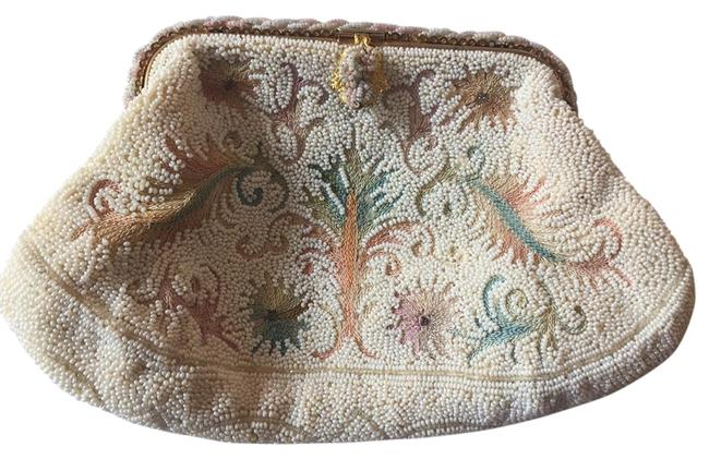 Item - Vintage Beaded Purse White   Ivory   Multicolored Thread Satin Clutch