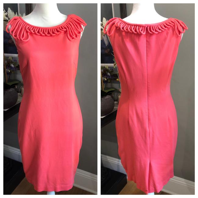 Item - Orange Coral Loop Sheath Mid-length Cocktail Dress Size 8 (M)