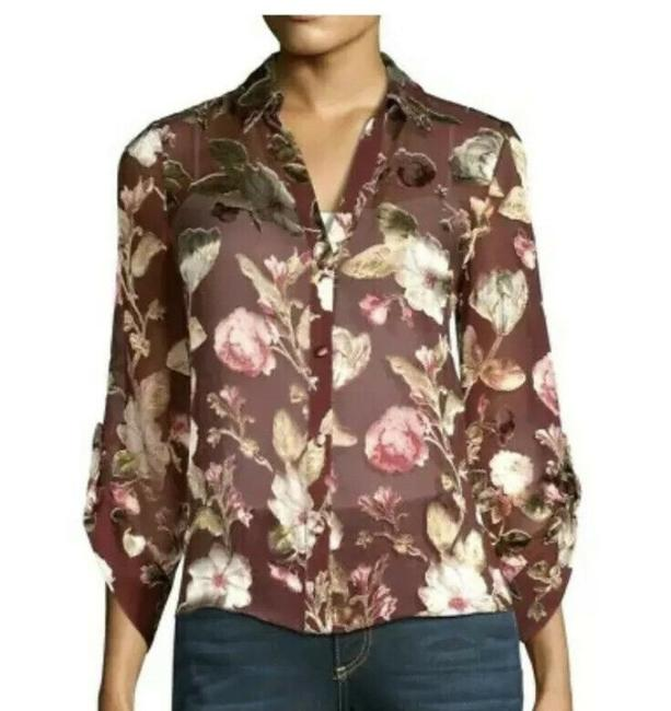Alice + Olivia Red Eloise Button-front Blouse In Hazy Floral Wine Button-down Top Size 0 (XS) Alice + Olivia Red Eloise Button-front Blouse In Hazy Floral Wine Button-down Top Size 0 (XS) Image 1