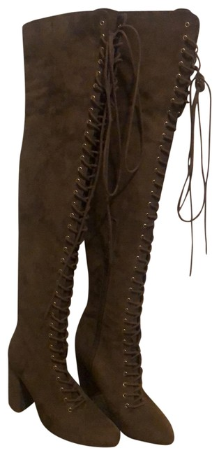 Item - Brown Over The Knee Lace Up Boots/Booties Size US 7 Regular (M, B)