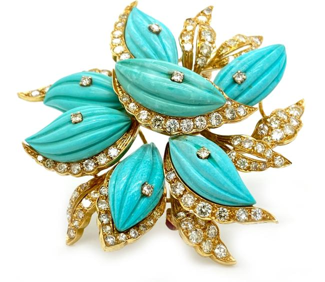 Item - (24740 Xl) Diamond Turquoise K Yellow Gold Large Flower Brooch Pin
