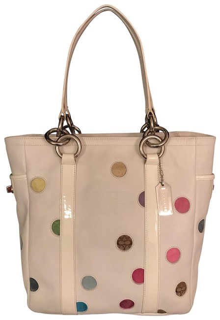 Item - Polka Dot Lunch Gallery 9763 White Multi Leather Tote