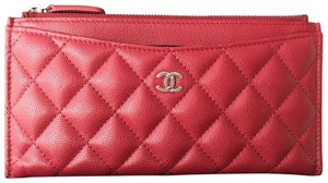Chanel CHANEL RED CAVIAR SHW LONG ZIP WALLET PHONE HOLDER O-CASE POUCH