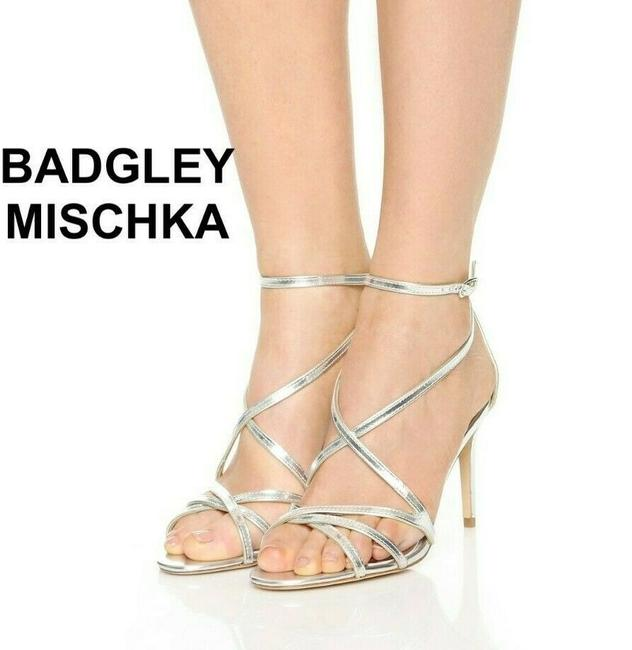 Item - Silver Strappy Ankle Strap Metallic Leather Sandals Size US 5.5 Regular (M, B)