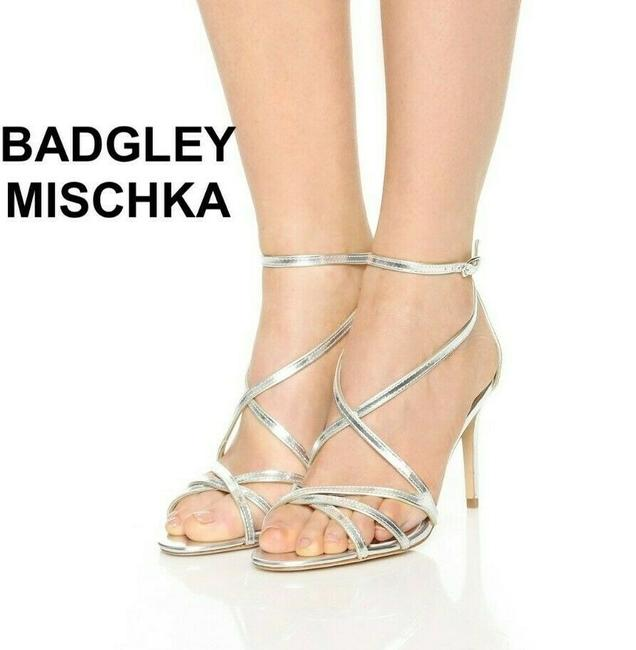 Item - Silver Strappy Ankle Strap Metallic Leather Sandals Size US 7 Regular (M, B)