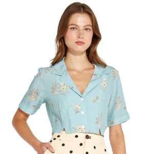 Capulet Crop Floral Button Down Shirt Blue