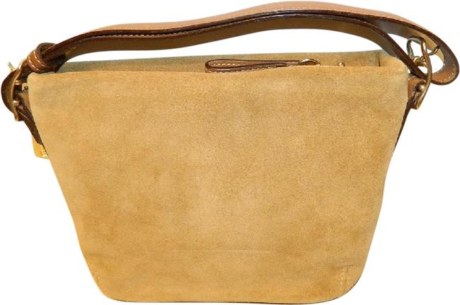 Item - Shoulder Duffle New Vintage Convertible Tan/Gold/Khaki Suede Leather Baguette