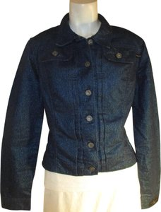 Baby Phat Sparkle Stretch Onm002 turquoise blue metallic Womens Jean Jacket