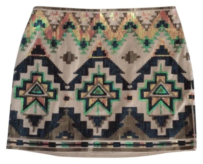 Item - Beige Mini Sequence Skirt Size 0 (XS, 25)