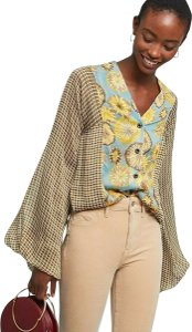 Byron Lars Beauty Mark Polyester V-neck Bell Sleeves Button Front Button Down Shirt New Multicolor