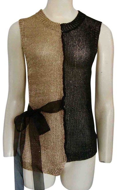 Unbranded Wrap Tie Sweater Tunic Sleeveless Sequin Metallic Knit Black Gold Top Unbranded Wrap Tie Sweater Tunic Sleeveless Sequin Metallic Knit Black Gold Top Image 1