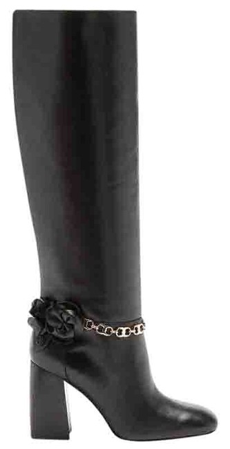 "Item - Black ""Blossom"" Gold Tone Chain Flower Reva Knee High Boots/Booties Size US 7 Regular (M, B)"
