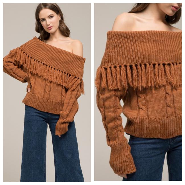 Item - Off Shoulder Fringe Cableknit Brown Sweater