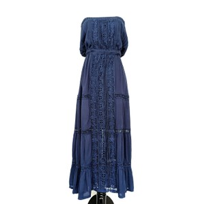 Navy Maxi Dress by Meghan LA Summer Cotton Maxi Tiered Crochet