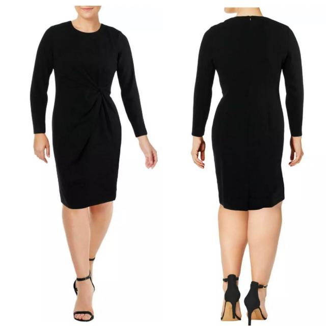 Item - Black Womens Ruched Mid-length Formal Dress Size 16 (XL, Plus 0x)