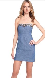 Free People short dress denim Maxi Summer Beach Pool Party Club Studded Embellished Distressed Beaded Bodycon on Tradesy