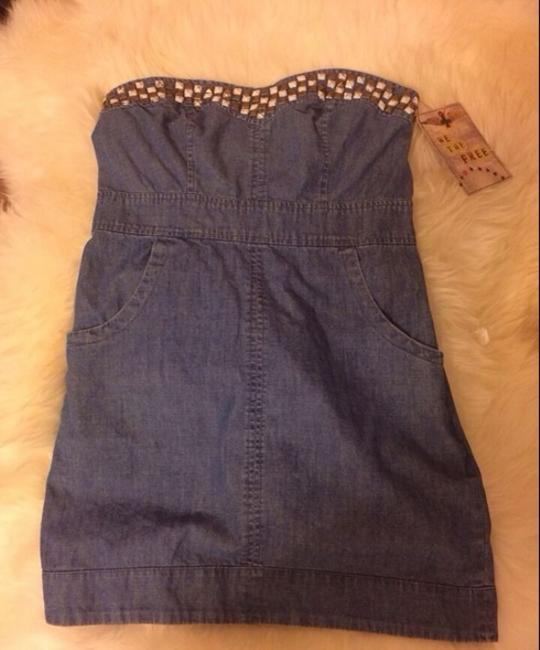 Free People short dress denim Summer Studded Embellished Bodycon on Tradesy