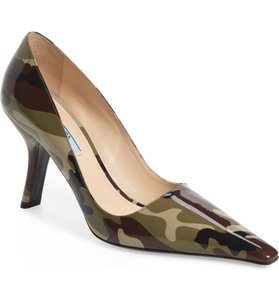 Prada Patent Leather Pointed Toe Camouflage Stiletto Green Pumps