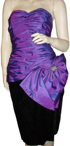 A.J. Bari Curvy Ruched Boned For Curves Large Bow Combo Dress
