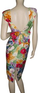 A.J. Bari short dress blue,red,purple,green Sexy Deep Back Boned For Curves Watercolor Flowers Spring Flower Blooms Pleated Shoulders on Tradesy