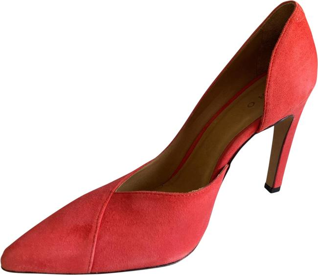 Item - Coral Iro- Suede Leather D'orsay Heel Pointed Toe Stiletto Pumps Size US 8 Narrow (Aa, N)