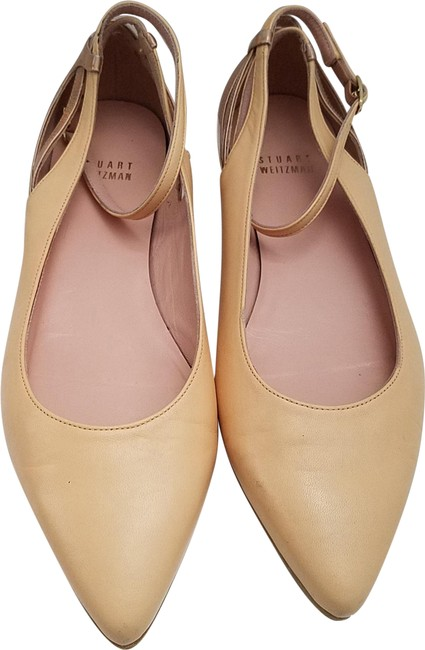 Item - Nude Creme Leather Pointed Toe Ankle Strap Flats Size EU 37.5 (Approx. US 7.5) Regular (M, B)