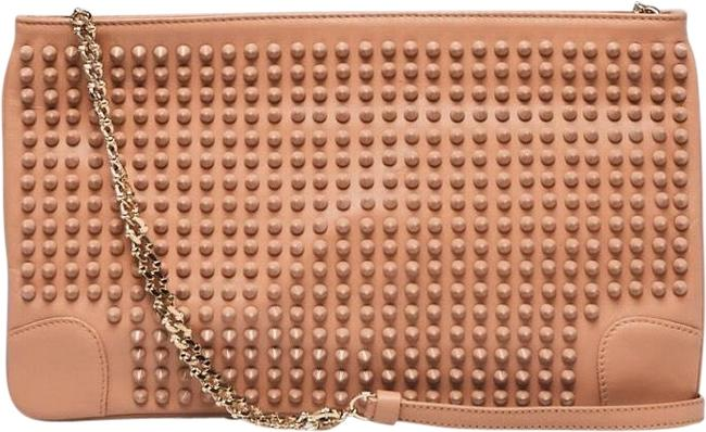 Item - Calf Loubiposh Spiked Pink Leather Clutch