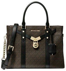 Michael Kors Lock And Key Mk Large Hamilton Style # 30f9g0hs3b Hamilton Nouveau Tote in Brown BLACK/Gold Hardware