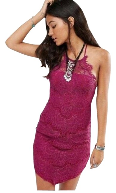 Item - Burgundy/ Bright Red Intimately She's Got It Lace Short Night Out Dress Size 12 (L)