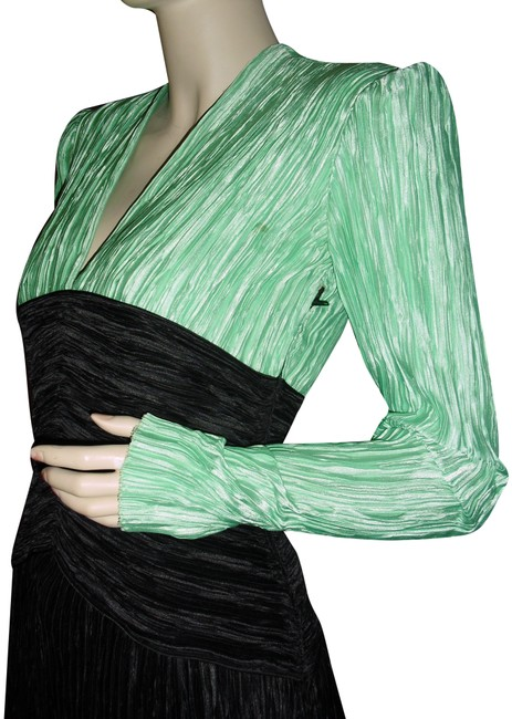 Item - Seafoam Green Black Couture Fortuny Pleated Unique Vintage Mid-length Short Casual Dress Size 8 (M)