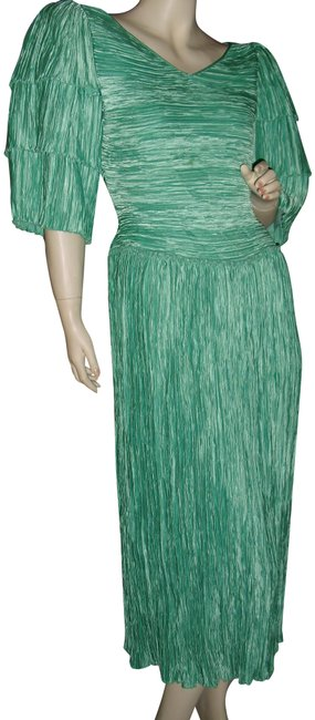 Item - Seafoam Green Couture All Pleated Fortuny Pleats Long Casual Maxi Dress Size 8 (M)