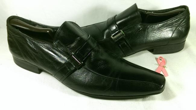 Item - Black W/Silver Accents Leather Men's Dress Casual Slip-on Loafer 10.5m Shoes