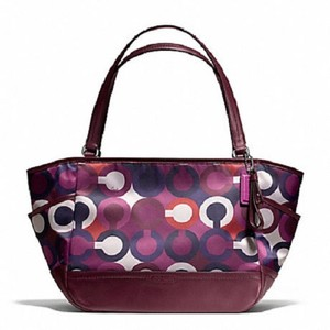 Coach Scarf Print Tote Limited Edition Satchel in Purple/Multicolor/SV