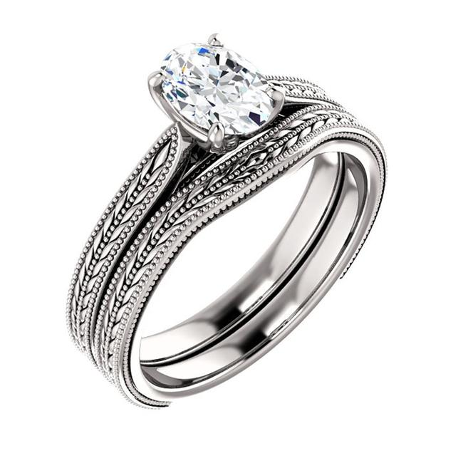 Item - White 1.00 Ct Ladies Oval Solitaire Set Engagement Ring