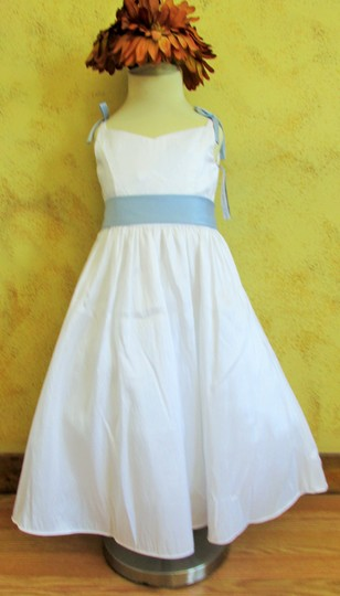 Alfred Angelo White / Blue Alfred Angelo 6609 Flower Girl - Size 5 - White & Blue (a15-1) Dress
