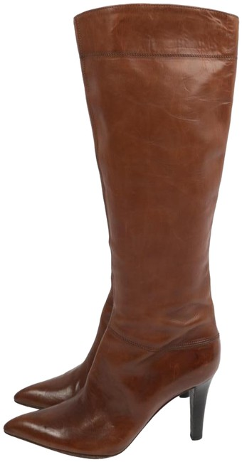 Item - Brown Leather Pointed Toe Knee High Boots/Booties Size US 9 Regular (M, B)