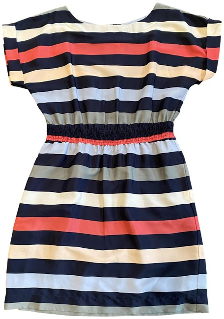 Item - Blue Pink and White Stripe Short Cocktail Dress Size 8 (M)