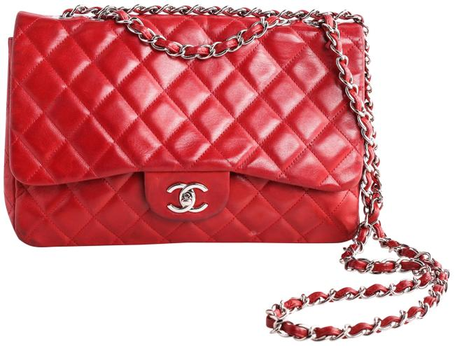 Item - Classic Medium Quilted Single Flap Red Lambskin Leather Shoulder Bag